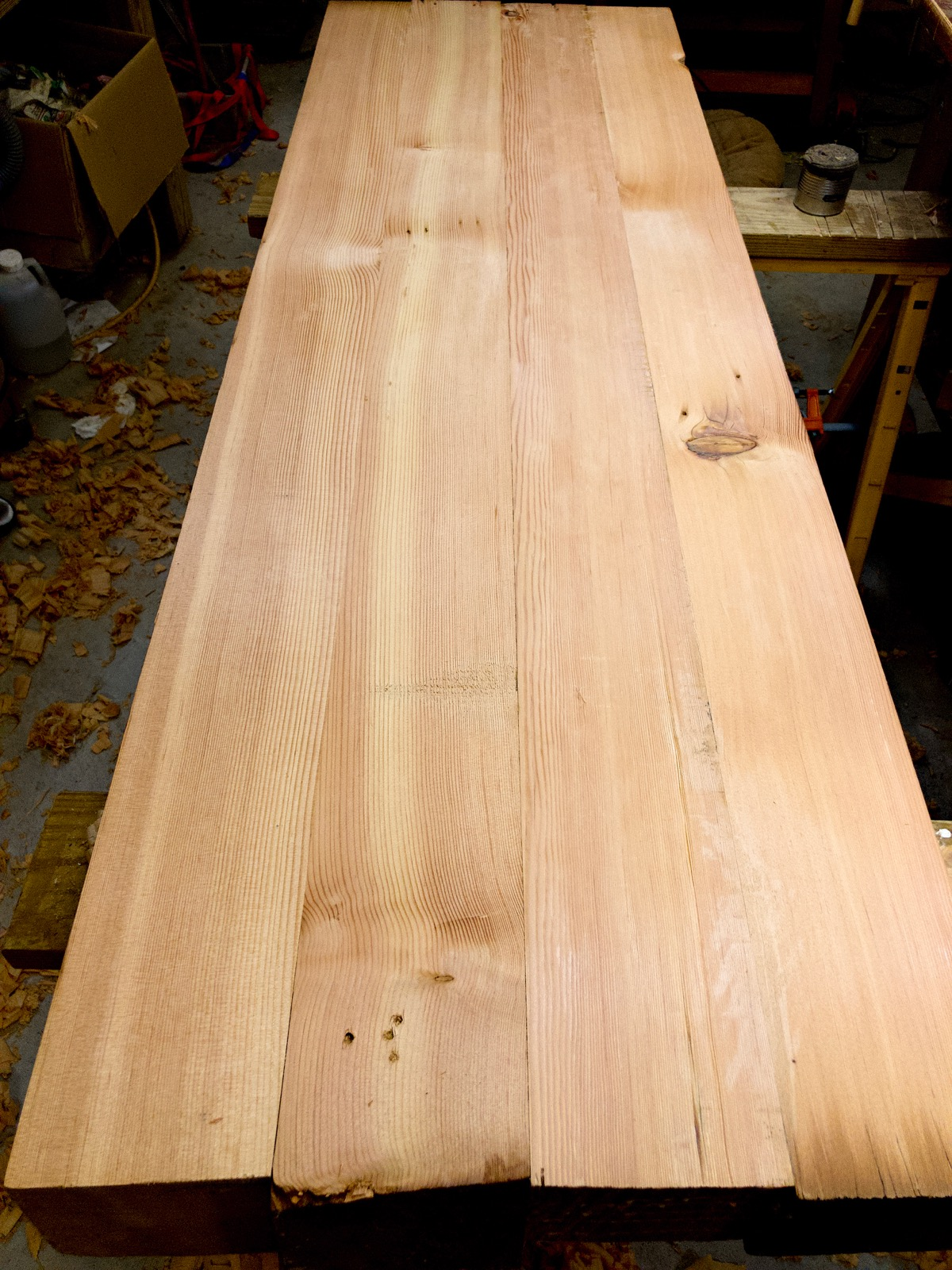 The top of the bench after being glued together.