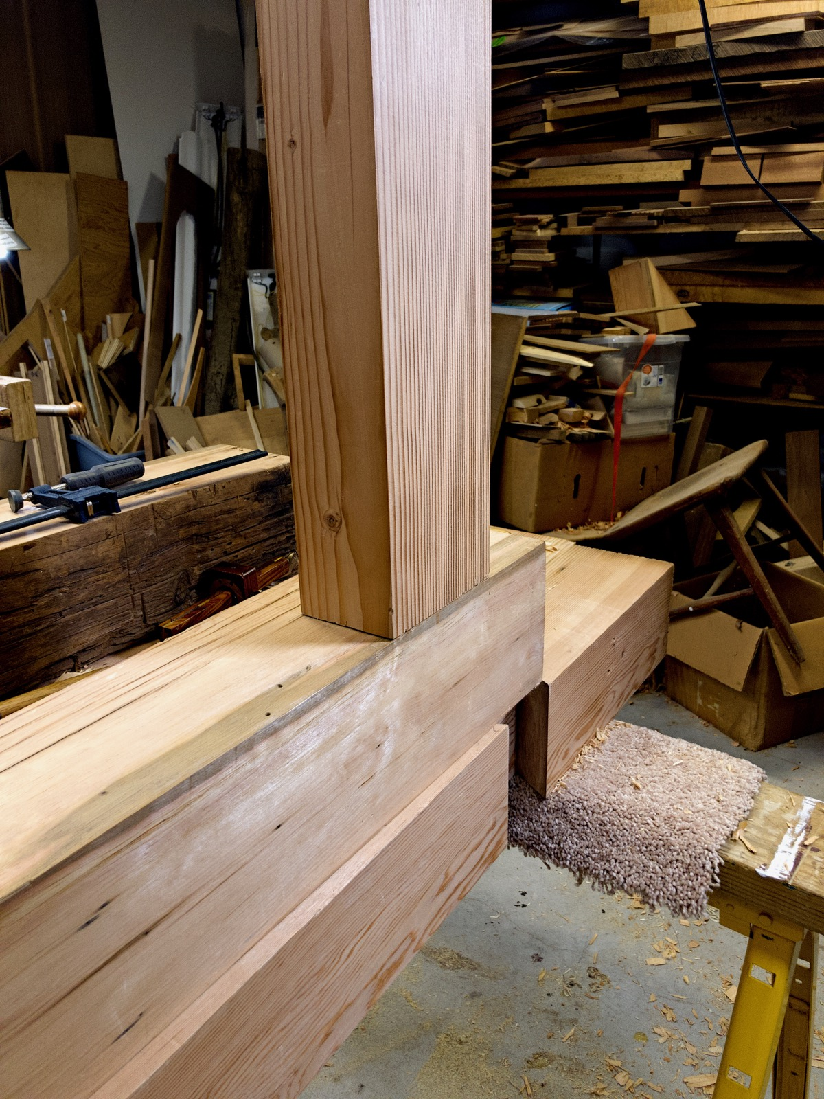 A completed mortise and tenon joint.