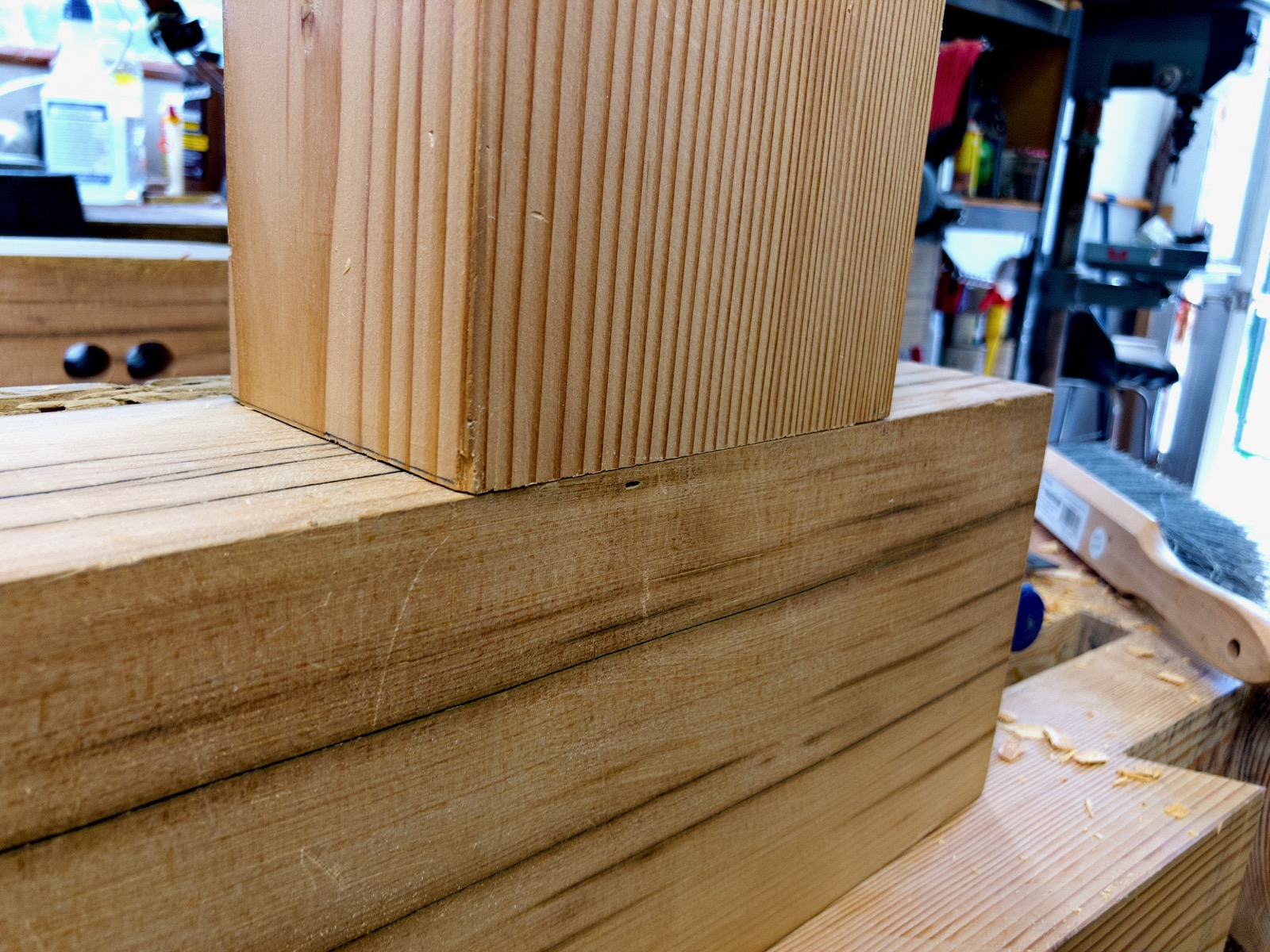 Closeup of the mortise and tenon joint.
