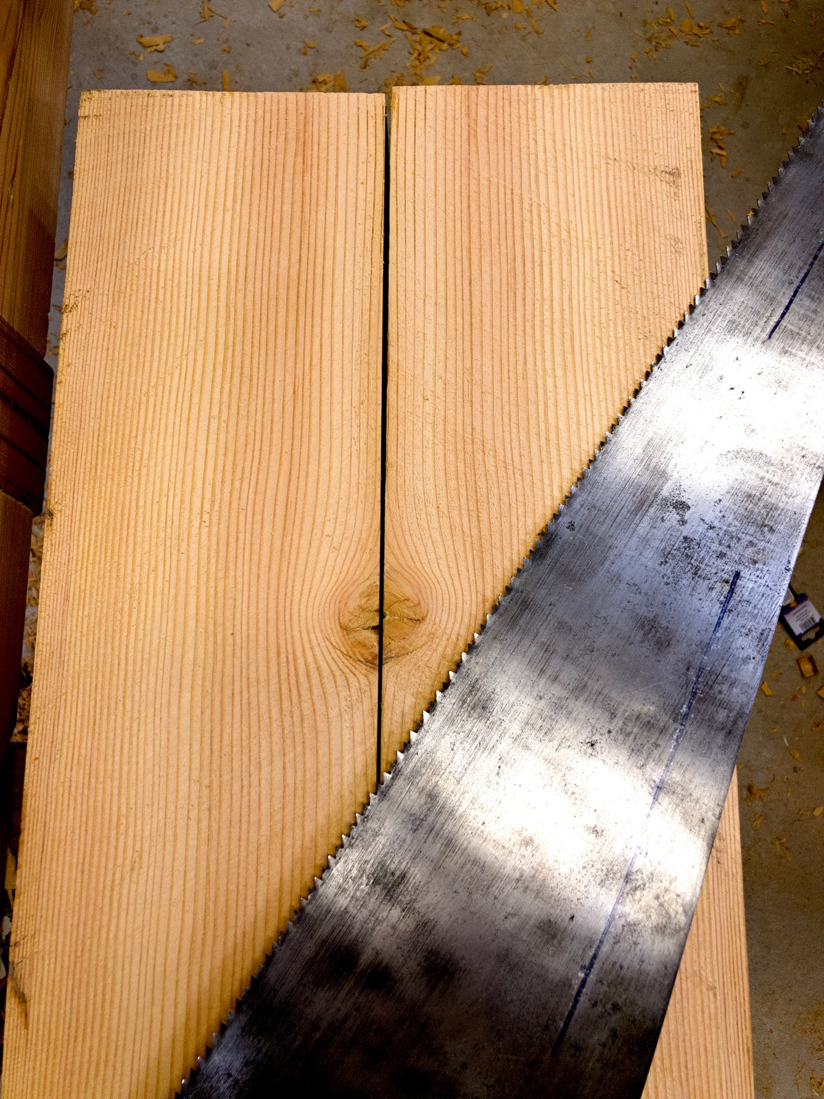 The sawn faces and the saw.