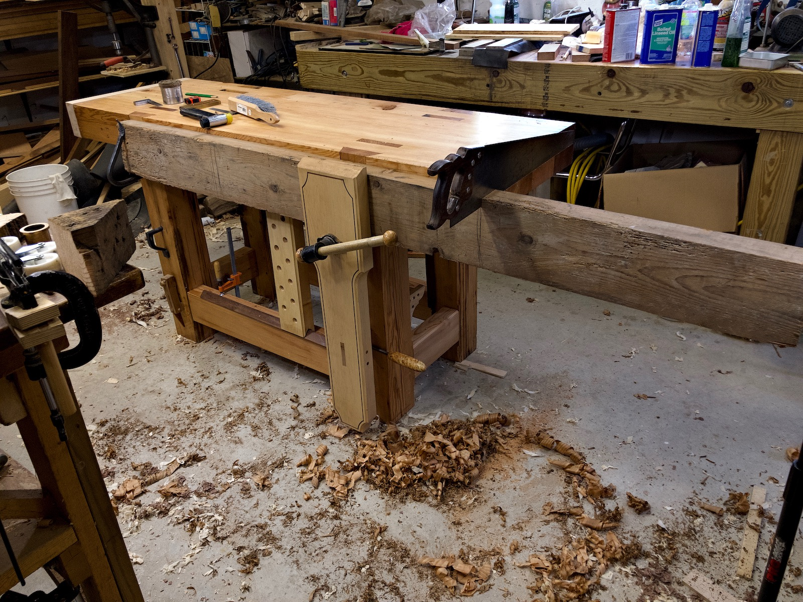 Workbench with wood in vise
